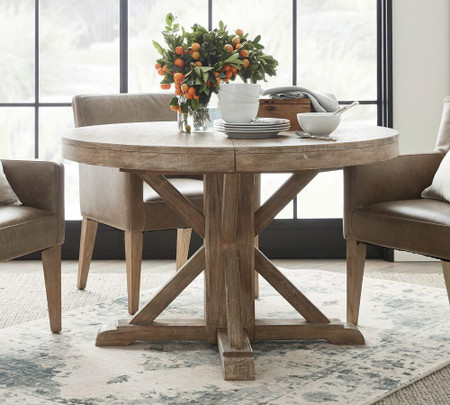 Benchwright Extending Round Table, Pottery Barn Tables Round