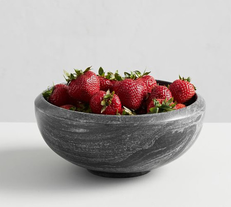 Black Marble Fruit Serving Bowl