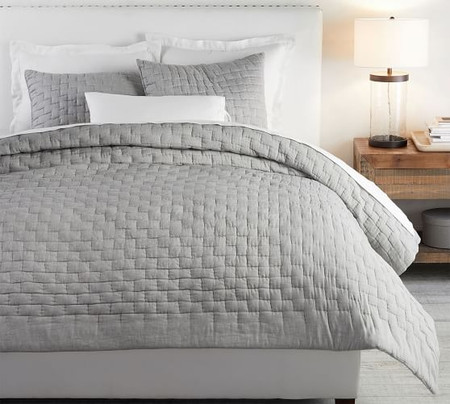 Bliss Cotton Linen Blend Coverlet & Pillowcases - Flagstone