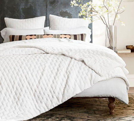 Bliss Cotton Linen Blend Coverlet & Pillowcases - White