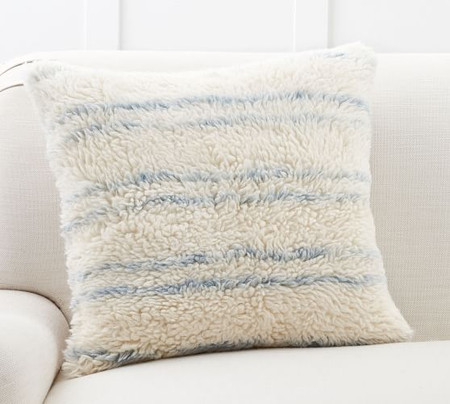 Blue Striped Wool Cushion Cover
