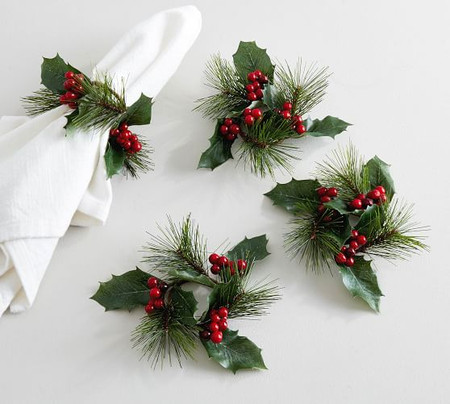 Holly Napkin Rings - Set of 4