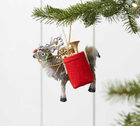 Bottlebrush Elk with Gifts Ornament