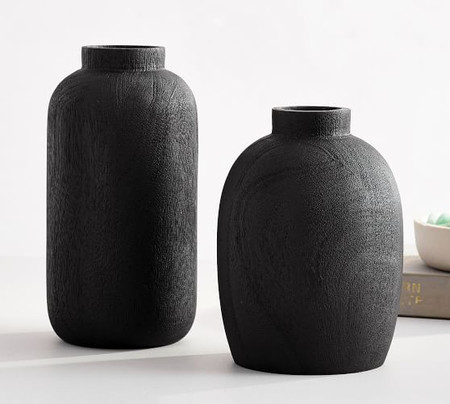 Black Mango Wood Vases