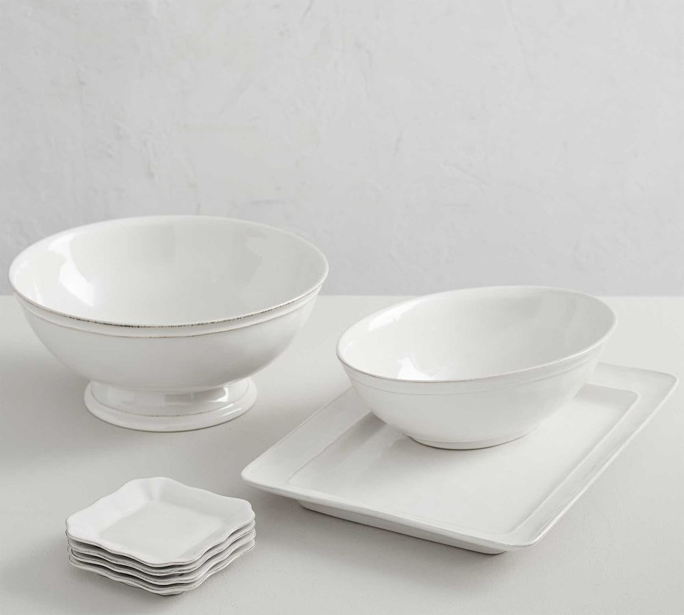 Cambria Stoneware Footed Serving Bowl