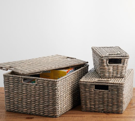 Charleston Lidded Basket, Grey