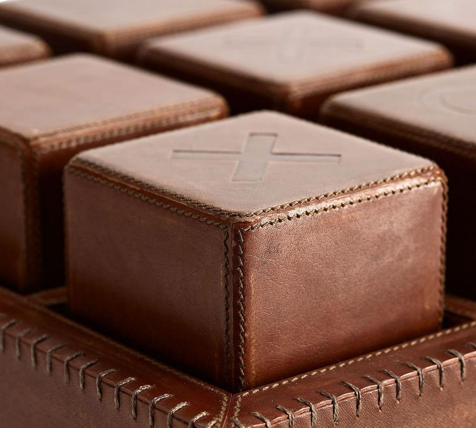 Oversized Chester Leather Tic Tac Toe Game Pottery Barn