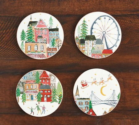 Christmas in the City Cork Coasters - Set of 4