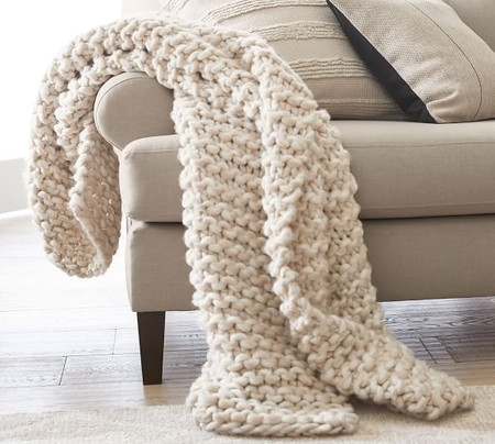 Chunky Hand-Knit Throw
