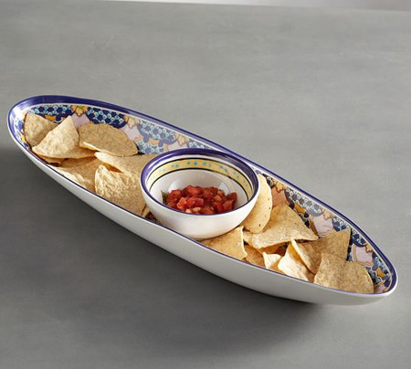 Del Sol Melamine Oval Chip & Dip Server
