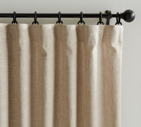 Emery Linen/Cotton Pole-Pocket Blackout Curtain - Oatmeal