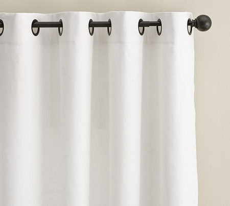 Emery Linen/Cotton Grommet Blackout Curtain - White
