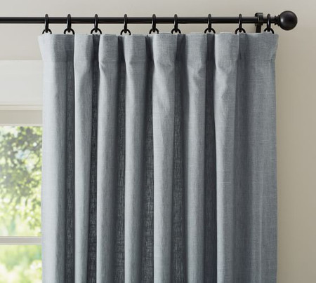 Emery Linen/Cotton Pole-Pocket Blackout Curtain - Blue Dawn