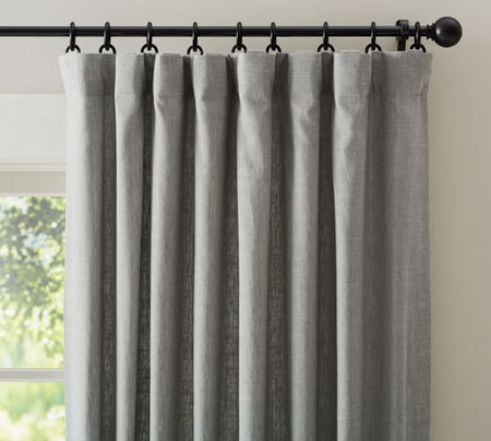 Emery Linen/Cotton Pole-Pocket Blackout Curtain - Grey