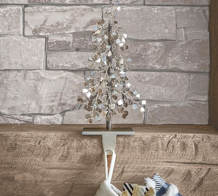 Faceted Glass Mirror Tree Stocking Holder