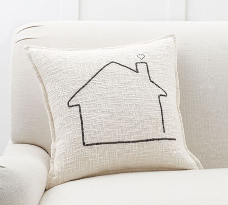 Family Home Embroidered Cushion Cover