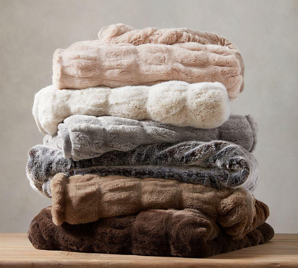 Faux Fur Ruched Throws