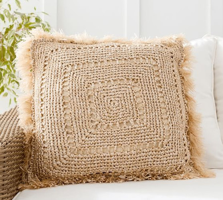 Faux Natural-Fibre Crochet Fringe Indoor/Outdoor Cushion