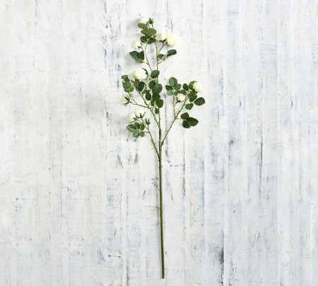Faux Rose Branch - White