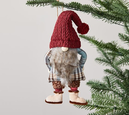 Felt Gnome in Plaid Jacket Ornament