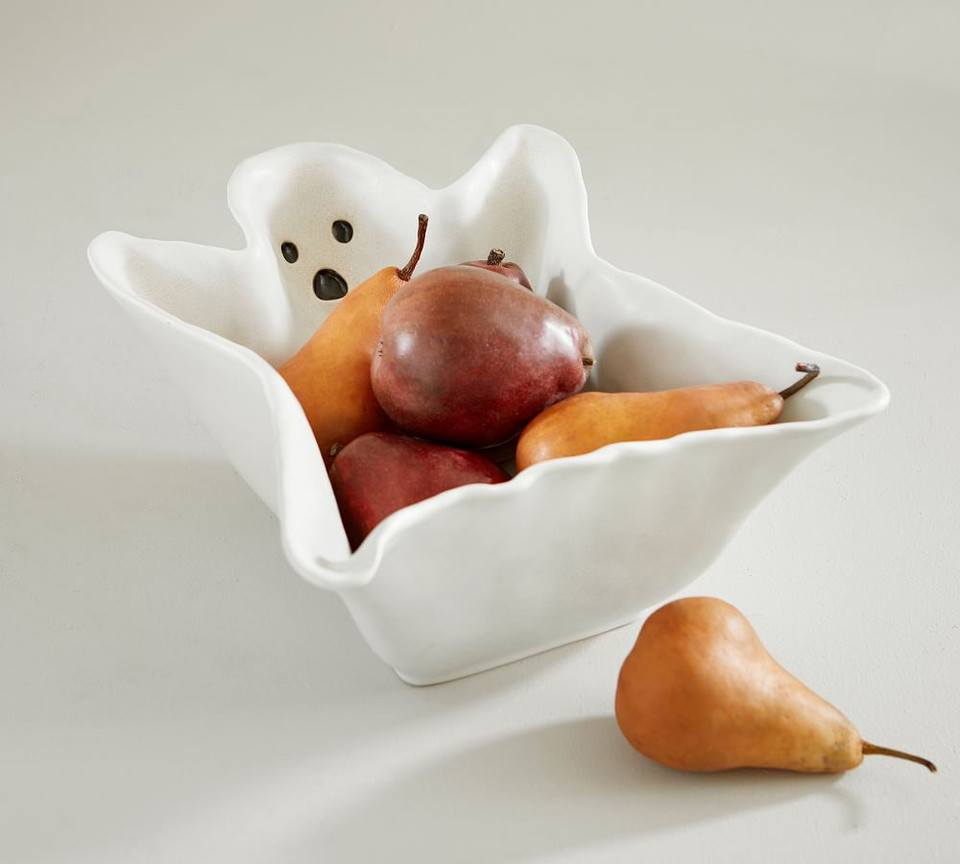 Figural Whimsy Ghost Stoneware Serving Bowl