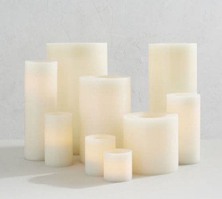 Flameless Wax Pillar Candle - Ivory