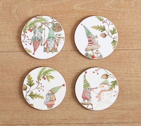 Forest Gnome Cork Coasters - Set of 4