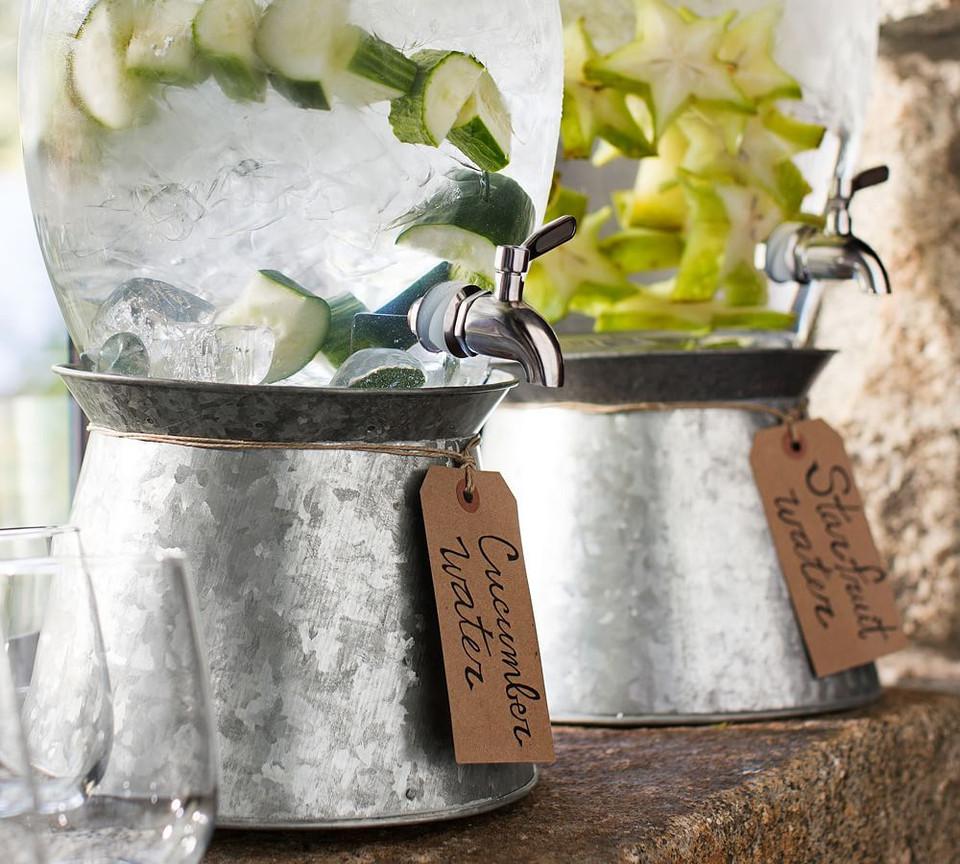 Galvanised Metal Drink Dispenser Stand Pottery Barn
