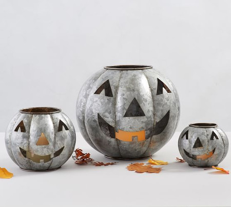 Galvanised Metal Jack O'Lanterns