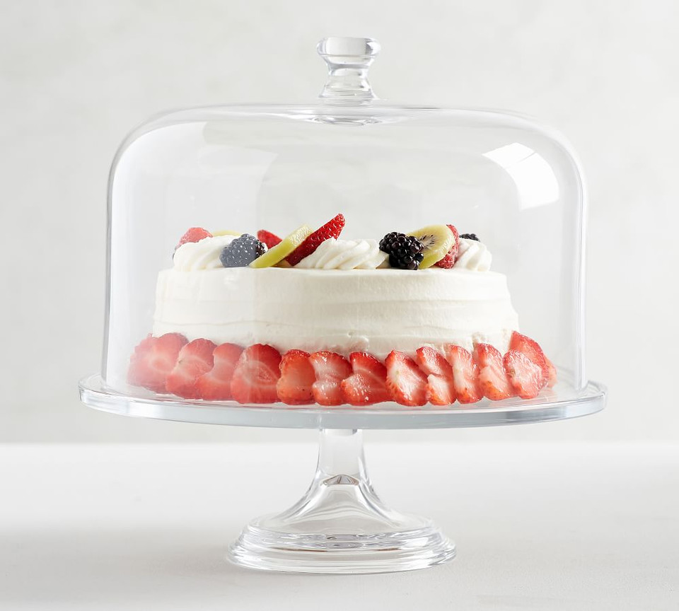 Grace Pressed Glass Cake Stand & Dome