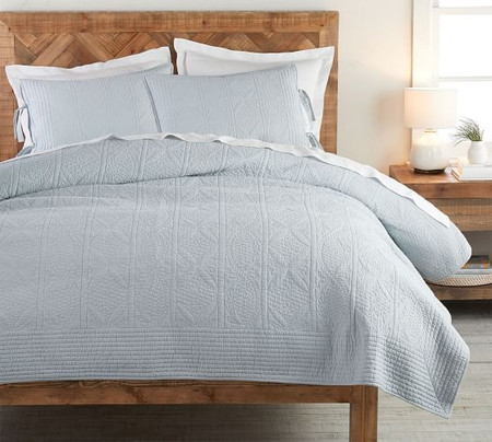 Hanna Cotton Linen Blend Coverlet & Pillowcases - Beach Glass