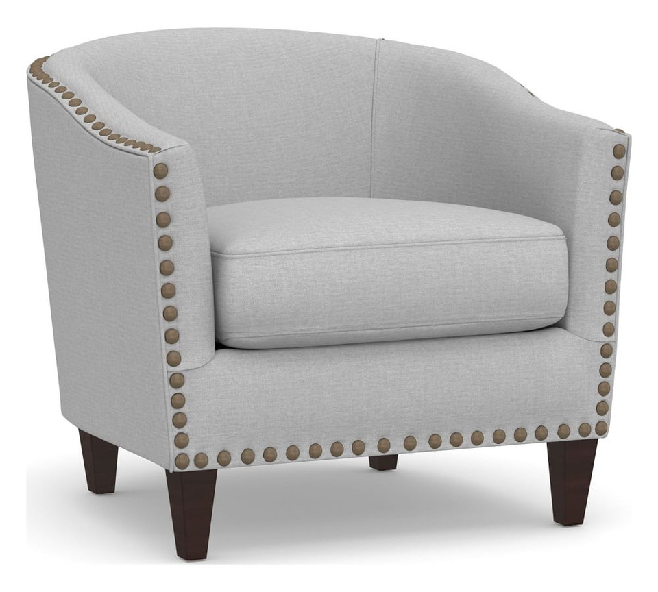 Harlow Upholstered Armchair with Bronze Nailheads - Light Grey