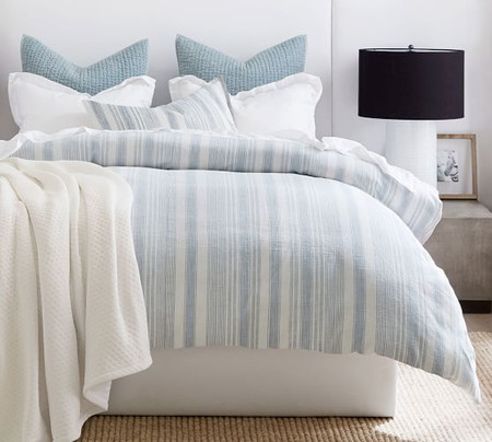 Hawthorn Stripe Cotton Quilt Cover & Pillowcases - Blue
