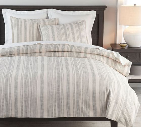 Hawthorn Stripe Cotton Quilt Cover & Pillowcases - Charcoal