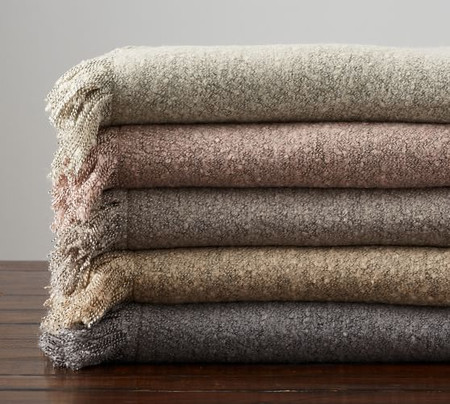 Heathered Boucle Fringe Throws
