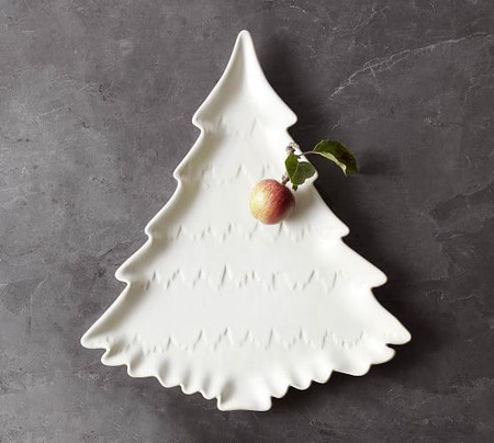 Christmas Tree Shaped Stoneware Serving Platter