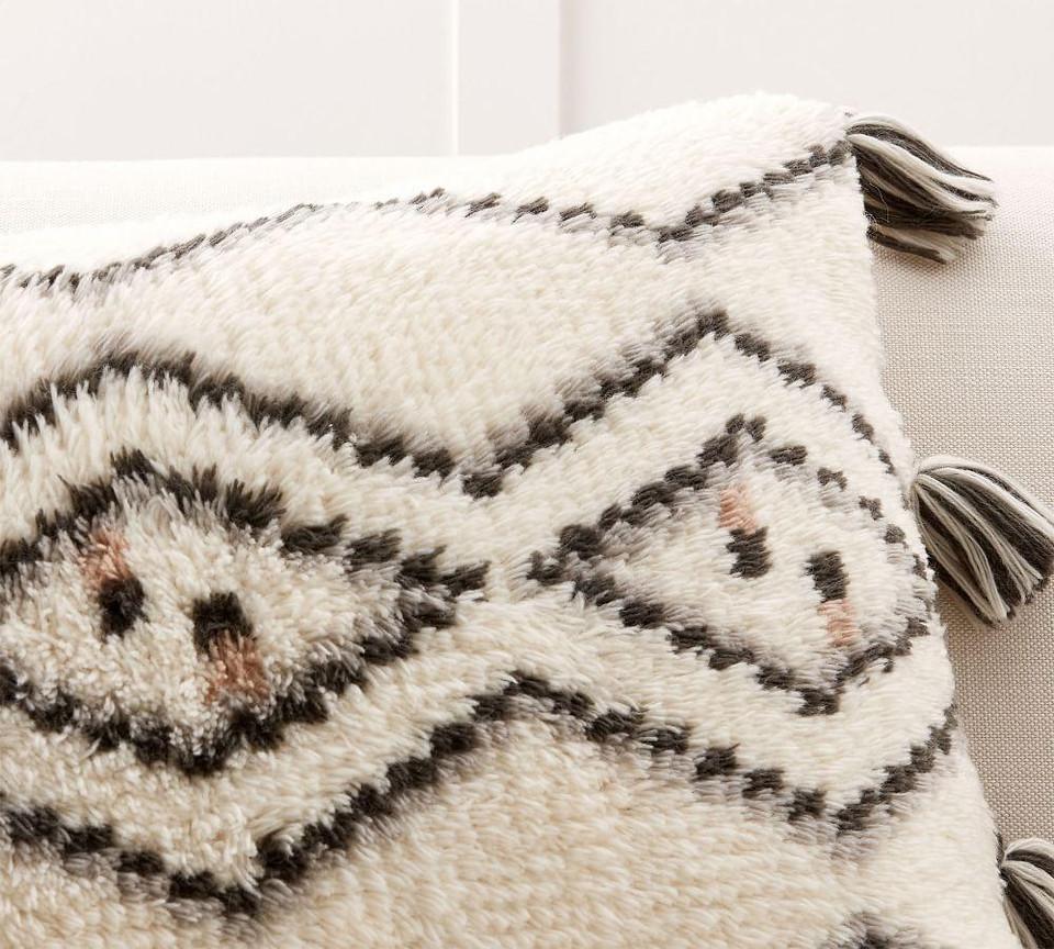 Iris Tassel Trellis Lumbar Cushion Cover Pottery Barn