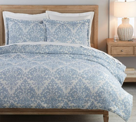 Jacquard Linen Medallion Quilt Cover & Pillowcases - Riviera Blue