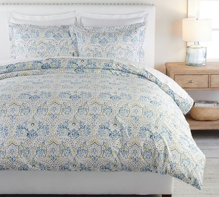 Jessie Scroll Organic Percale Quilt Cover & Pillowcases
