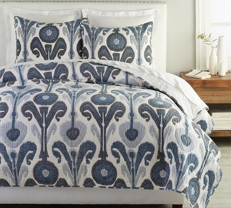 Kenmare Printed Coverlet & Pillowcases - Blue