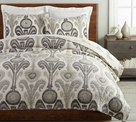 Kenmare Printed Coverlet & Pillowcases - Grey