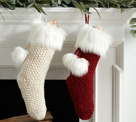 Knit Stocking with Faux Fur Trim