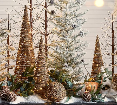 Light Up Grapevine Cone Trees