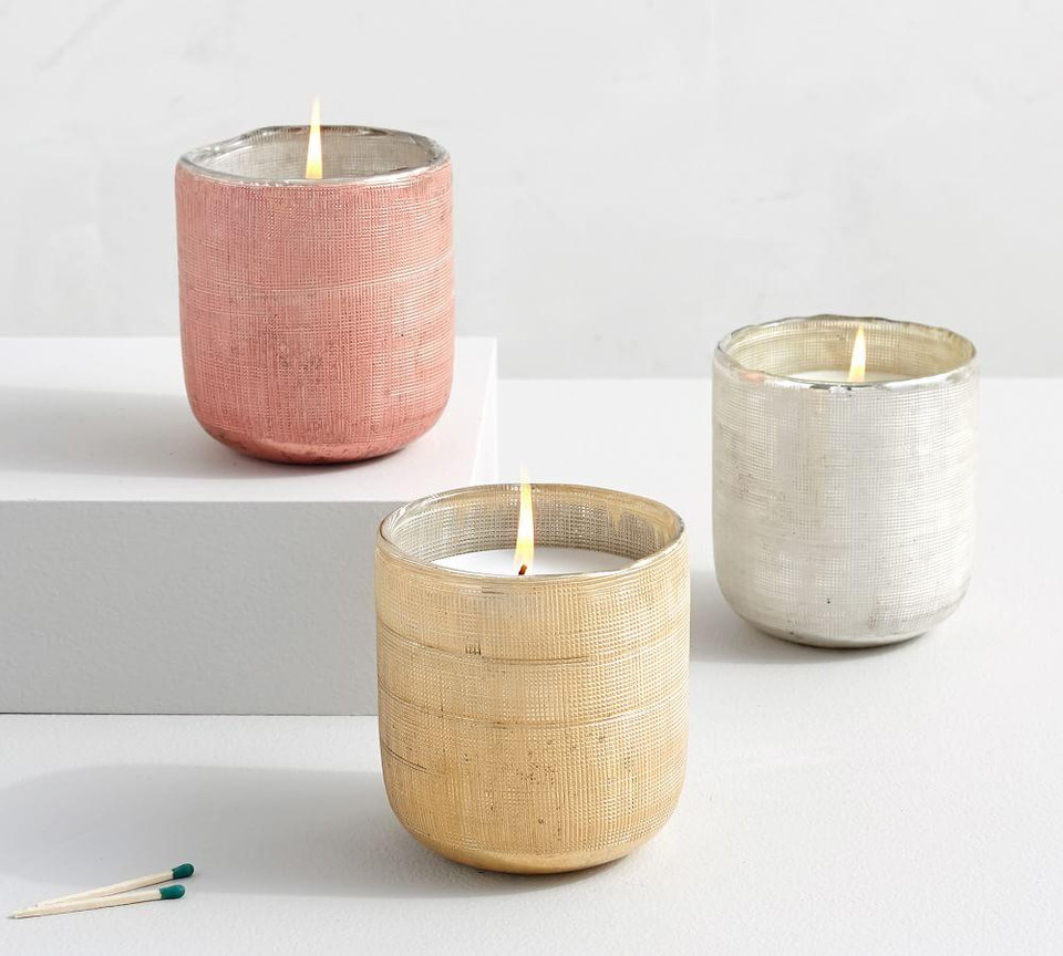 Linen Textured Mercury Glass Scented Candles