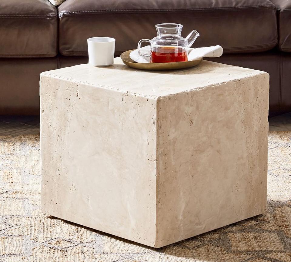 Madison Travertine Cube Side Table Pottery Barn Australia