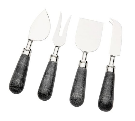Black Marble Cheese Knives, Set of 4