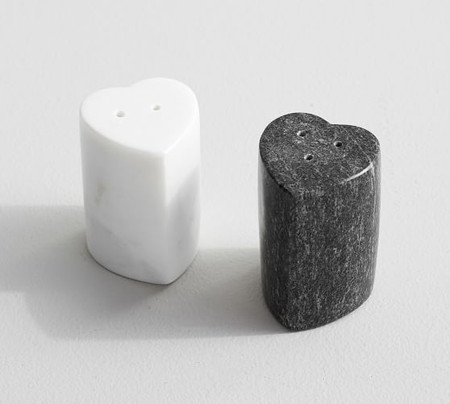 Marble Heart Salt & Pepper Shakers