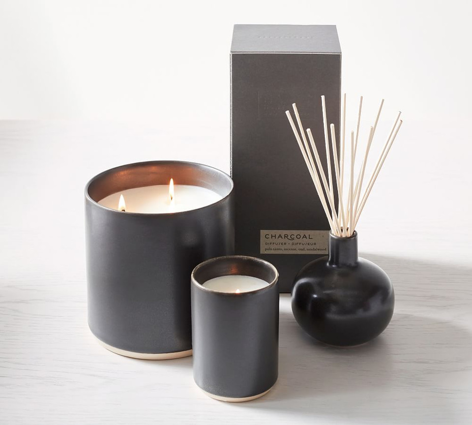 Mason Ceramic Scented Candles - Black Amber