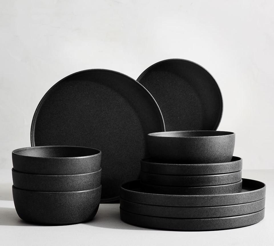 Mason Edge Melamine Dinnerware Set Charcoal Pottery