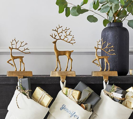 Merry Reindeer Brass Stocking Holder Collection